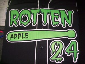 Green and black baseball jersey