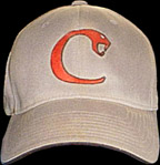 Baseball cap with orange snake logo
