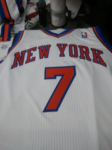 New York Knicks jersey being embroidered